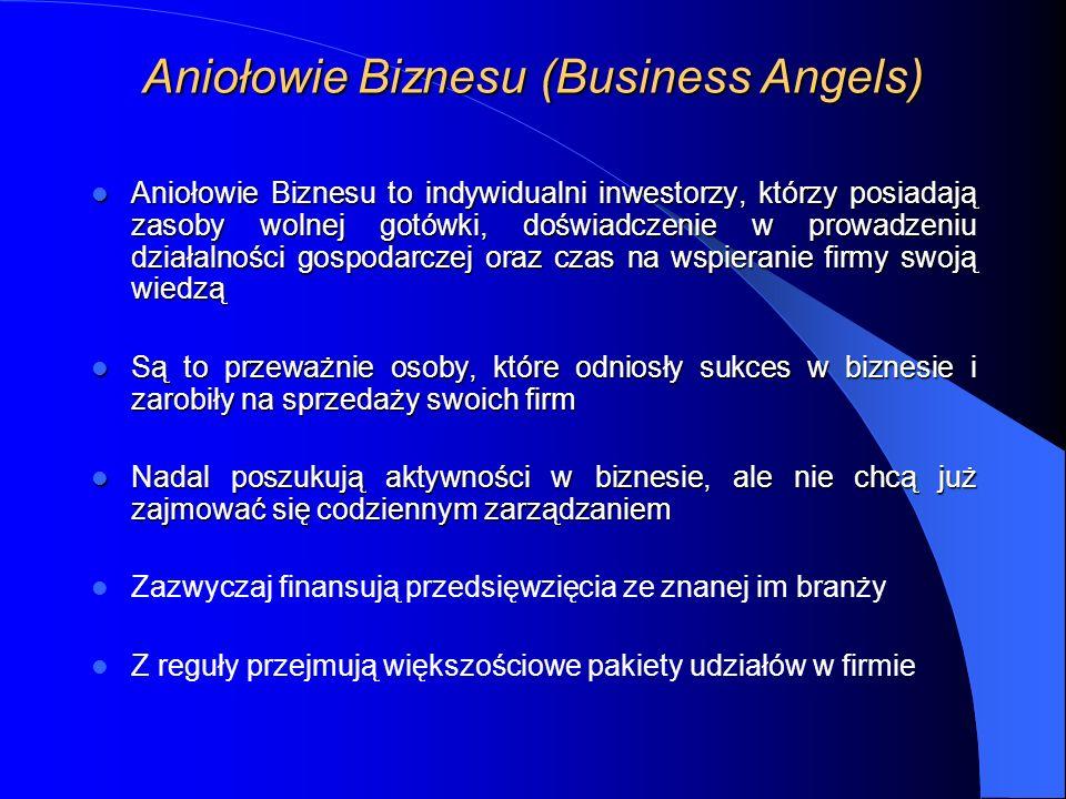 Aniołowie Biznesu (Business Angels) Aniołowie Biznesu to indywidualni inwestorzy, którzy posiadają zasoby wolnej gotówki, doświadczenie w prowadzeniu działalności gospodarczej oraz czas na wspieranie firmy swoją wiedzą Aniołowie Biznesu to indywidualni inwestorzy, którzy posiadają zasoby wolnej gotówki, doświadczenie w prowadzeniu działalności gospodarczej oraz czas na wspieranie firmy swoją wiedzą Są to przeważnie osoby, które odniosły sukces w biznesie i zarobiły na sprzedaży swoich firm Są to przeważnie osoby, które odniosły sukces w biznesie i zarobiły na sprzedaży swoich firm Nadal poszukują aktywności w biznesie, ale nie chcą już zajmować się codziennym zarządzaniem Nadal poszukują aktywności w biznesie, ale nie chcą już zajmować się codziennym zarządzaniem Zazwyczaj finansują przedsięwzięcia ze znanej im branży Z reguły przejmują większościowe pakiety udziałów w firmie