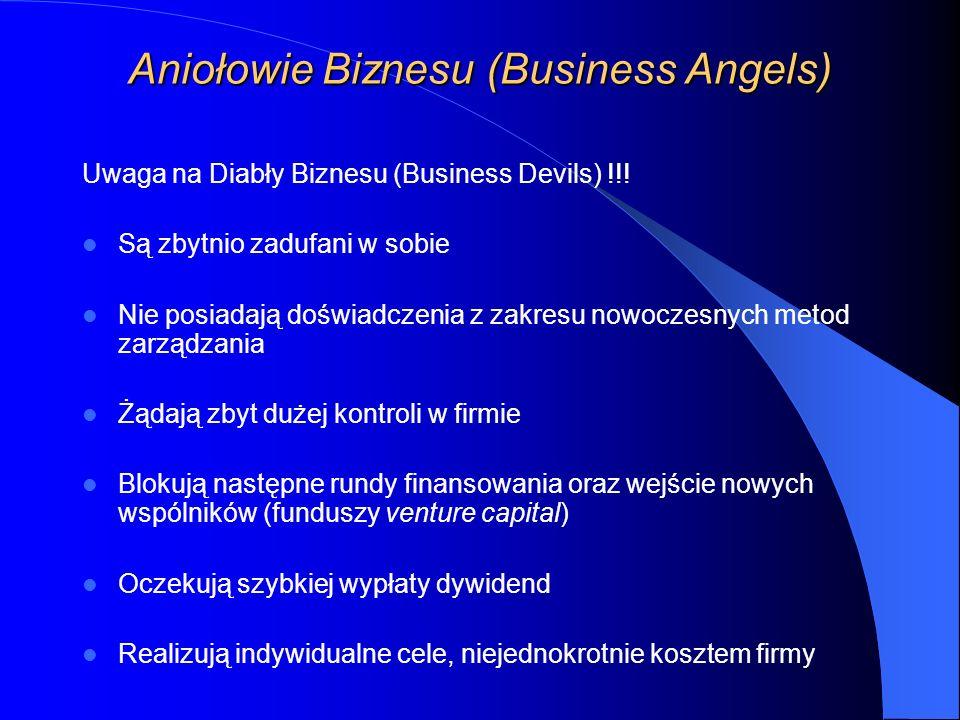 Aniołowie Biznesu (Business Angels) Uwaga na Diabły Biznesu (Business Devils) !!.