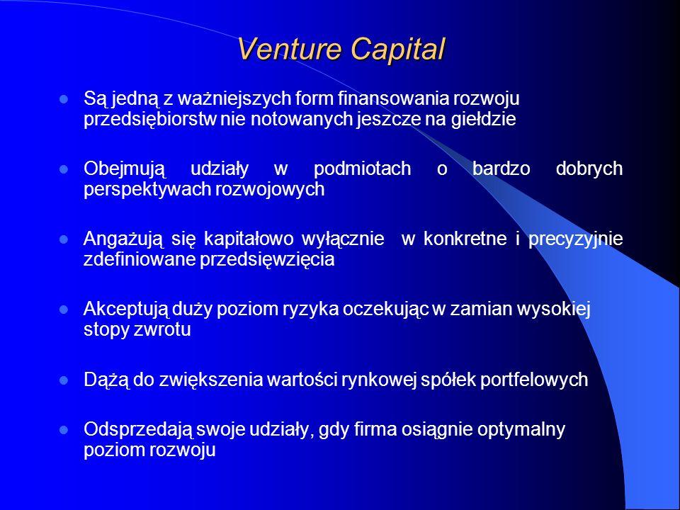 Venture Capital Są jedną z ważniejszych form finansowania rozwoju przedsiębiorstw nie notowanych jeszcze na giełdzie Obejmują udziały w podmiotach o bardzo dobrych perspektywach rozwojowych Angażują się kapitałowo wyłącznie w konkretne i precyzyjnie zdefiniowane przedsięwzięcia Akceptują duży poziom ryzyka oczekując w zamian wysokiej stopy zwrotu Dążą do zwiększenia wartości rynkowej spółek portfelowych Odsprzedają swoje udziały, gdy firma osiągnie optymalny poziom rozwoju