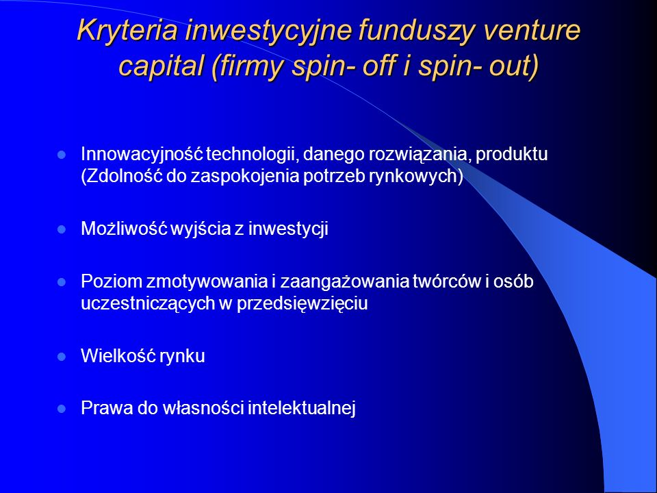 Finansowanie firm spin- off i spin- out w Polsce