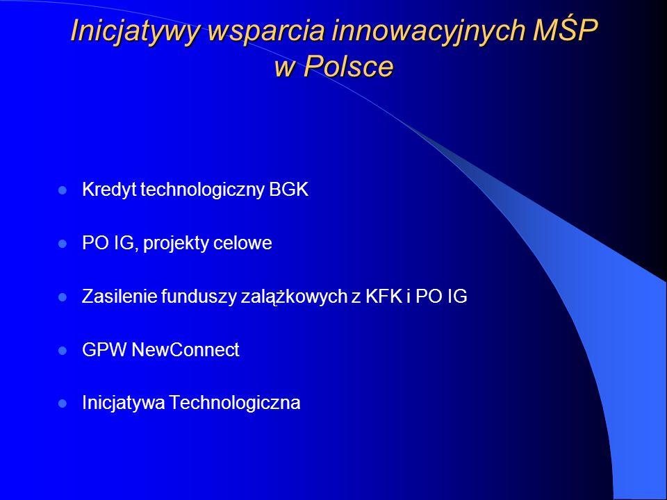 Inicjatywy wsparcia innowacyjnych MŚP w Polsce Kredyt technologiczny BGK PO IG, projekty celowe Zasilenie funduszy zalążkowych z KFK i PO IG GPW NewConnect Inicjatywa Technologiczna