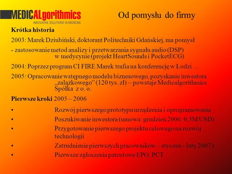 Krótka historia 2003: Marek Dziubiński, doktorant Politechniki Gdańskiej, ma pomysł - zastosowanie metod analizy i przetwarzania sygnału audio (DSP) w
