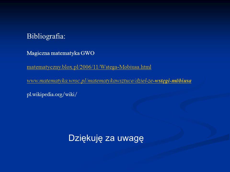 Bibliografia: Magiczna matematyka GWO matematyczny.blox.pl/2006/11/Wstega-Mobiusa.html www.matematyka.wroc.pl/matematykawsztuce/dzieł-ze-wstęgi-möbius