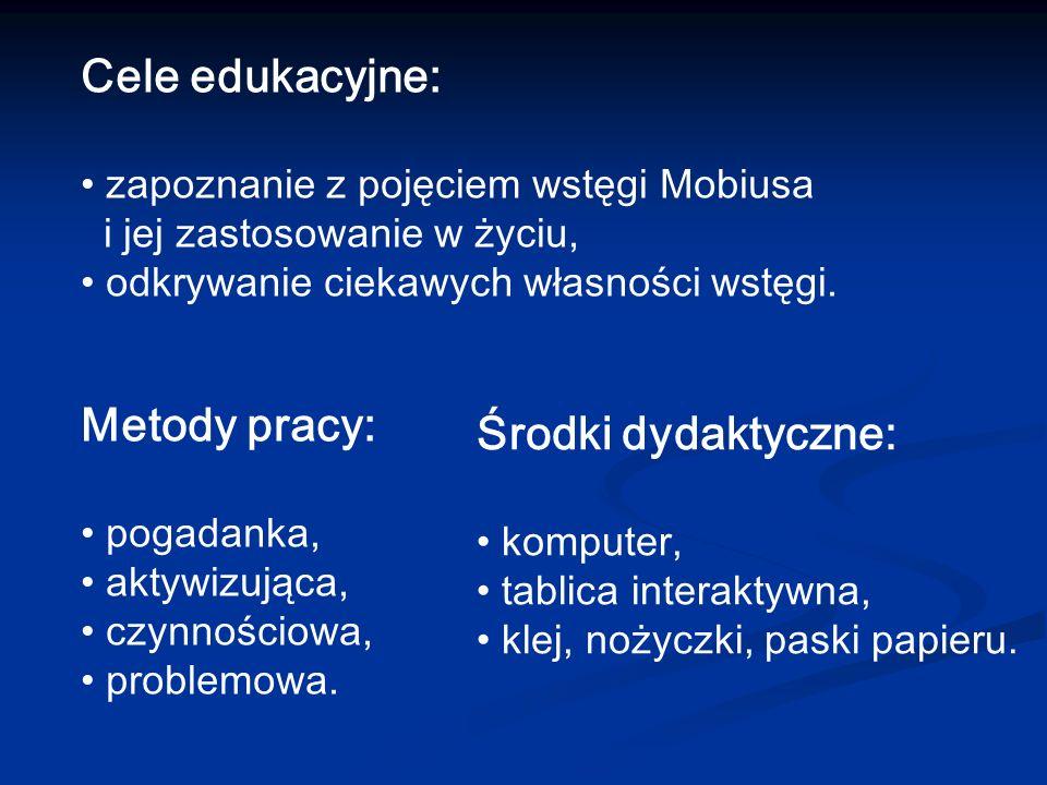 Cele edukacyjne: zapoznanie z pojęciem wstęgi Mobiusa i jej zastosowanie w życiu, odkrywanie ciekawych własności wstęgi. Metody pracy: pogadanka, akty