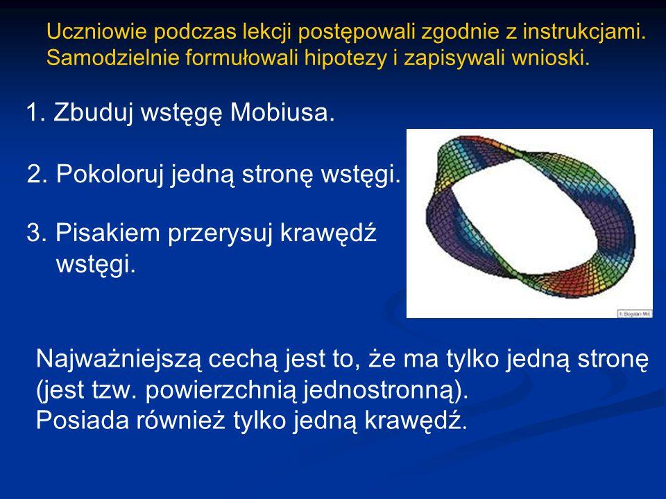 Uczniowie podczas lekcji postępowali zgodnie z instrukcjami. Samodzielnie formułowali hipotezy i zapisywali wnioski. 1. Zbuduj wstęgę Mobiusa. 2. Poko