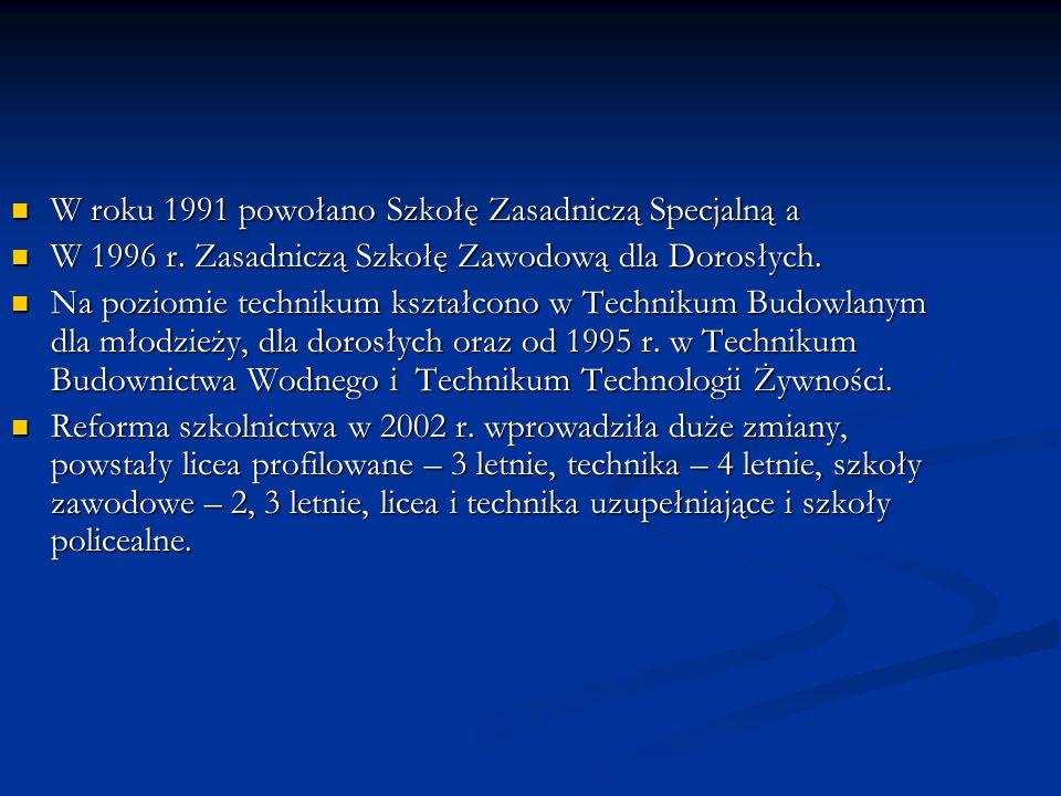 W roku 1991 powołano Szkołę Zasadniczą Specjalną a W roku 1991 powołano Szkołę Zasadniczą Specjalną a W 1996 r.