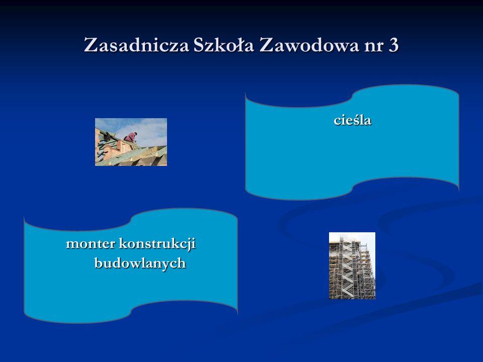 Zasadnicza Szkoła Zawodowa nr 3 cieśla monter konstrukcji budowlanych