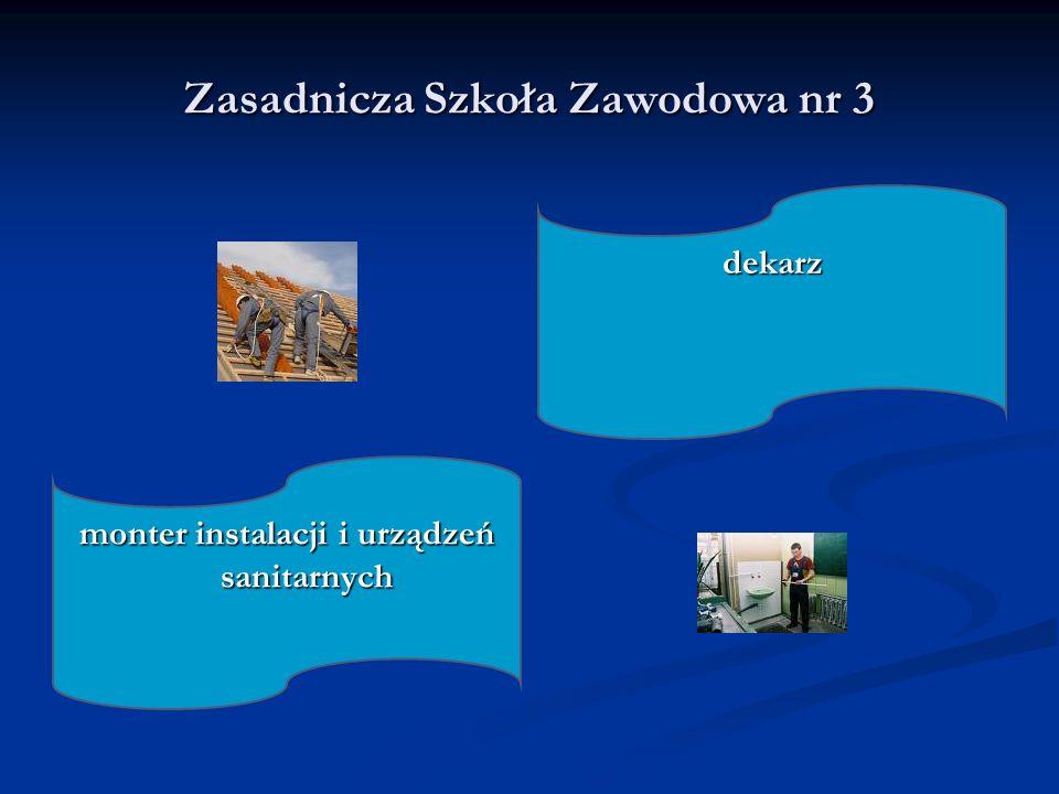 Zasadnicza Szkoła Zawodowa nr 3 dekarz monter instalacji i urządzeń sanitarnych