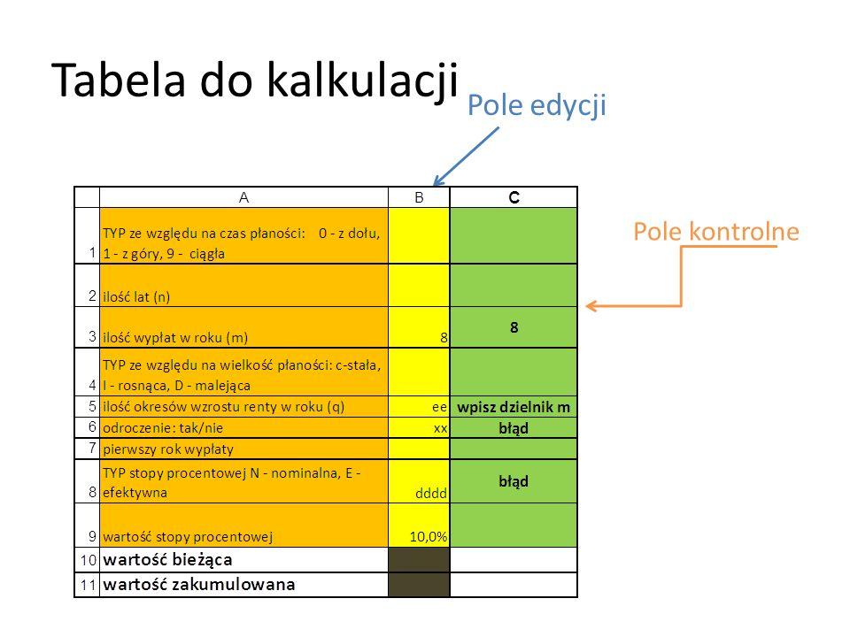 Tabela do kalkulacji Pole edycji Pole kontrolne