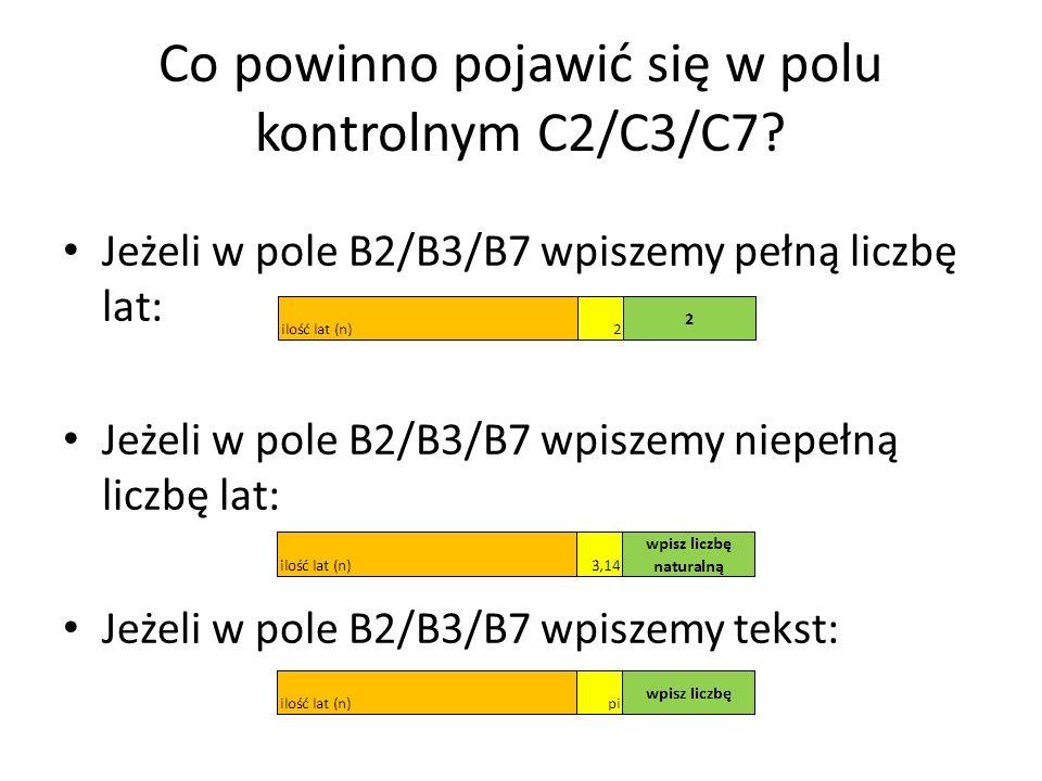 Co powinno pojawić się w polu kontrolnym C2/C3/C7.