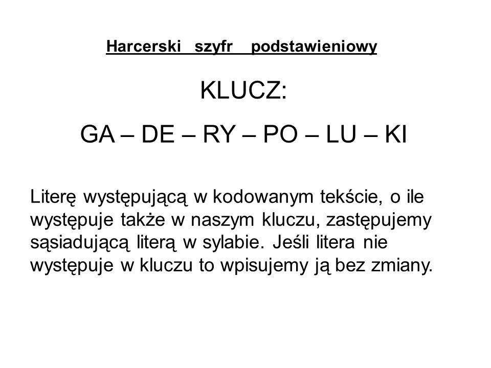 Harcerski szyfr podstawieniowy KLUCZ: GA – DE – RY – PO – LU – KI Literę występującą w kodowanym tekście, o ile występuje także w naszym kluczu, zastępujemy sąsiadującą literą w sylabie.