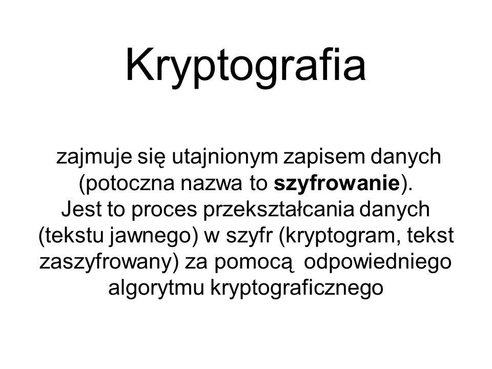 Kryptografia zajmuje się utajnionym zapisem danych (potoczna nazwa to szyfrowanie). Jest to proces przekształcania danych (tekstu jawnego) w szyfr (kr