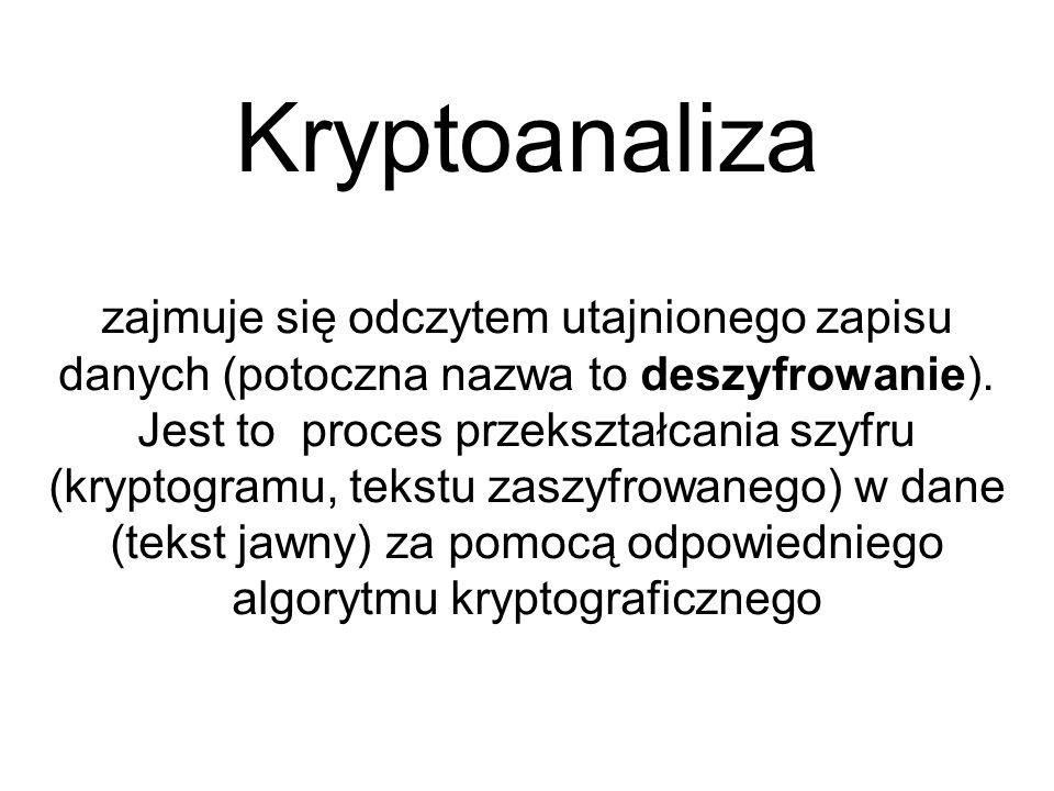 Kryptoanaliza zajmuje się odczytem utajnionego zapisu danych (potoczna nazwa to deszyfrowanie). Jest to proces przekształcania szyfru (kryptogramu, te