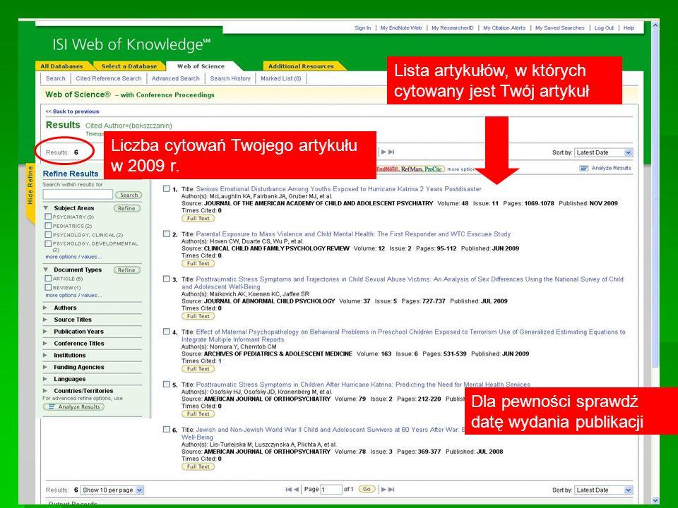 Liczba cytowań Twojego artykułu w 2009 r. Lista artykułów, w których cytowany jest Twój artykuł Dla pewności sprawdź datę wydania publikacji