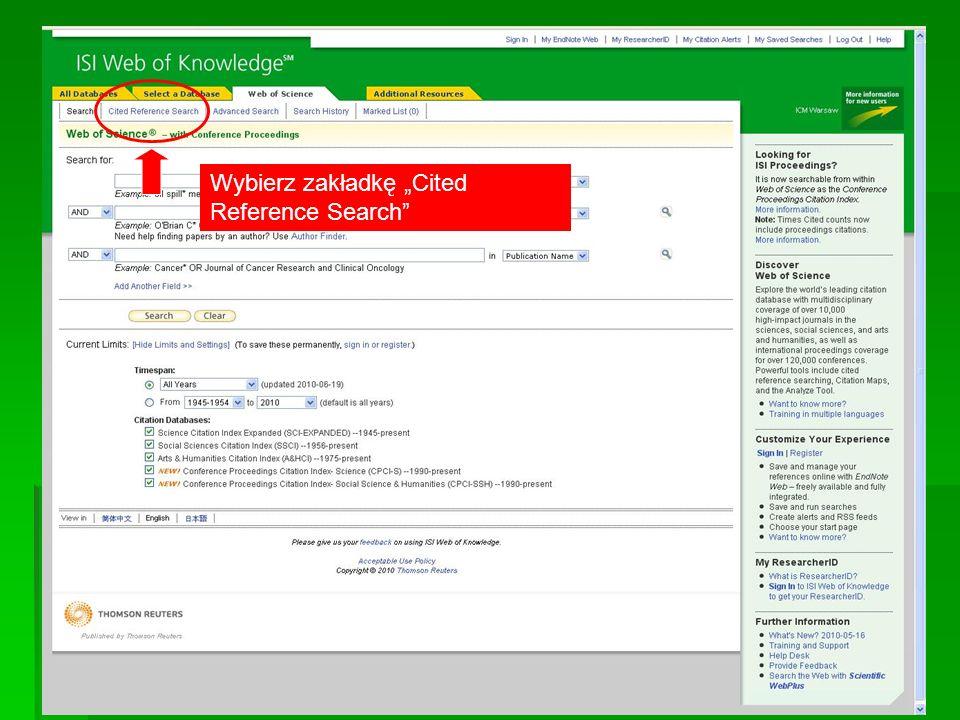 Wybierz zakładkę Cited Reference Search
