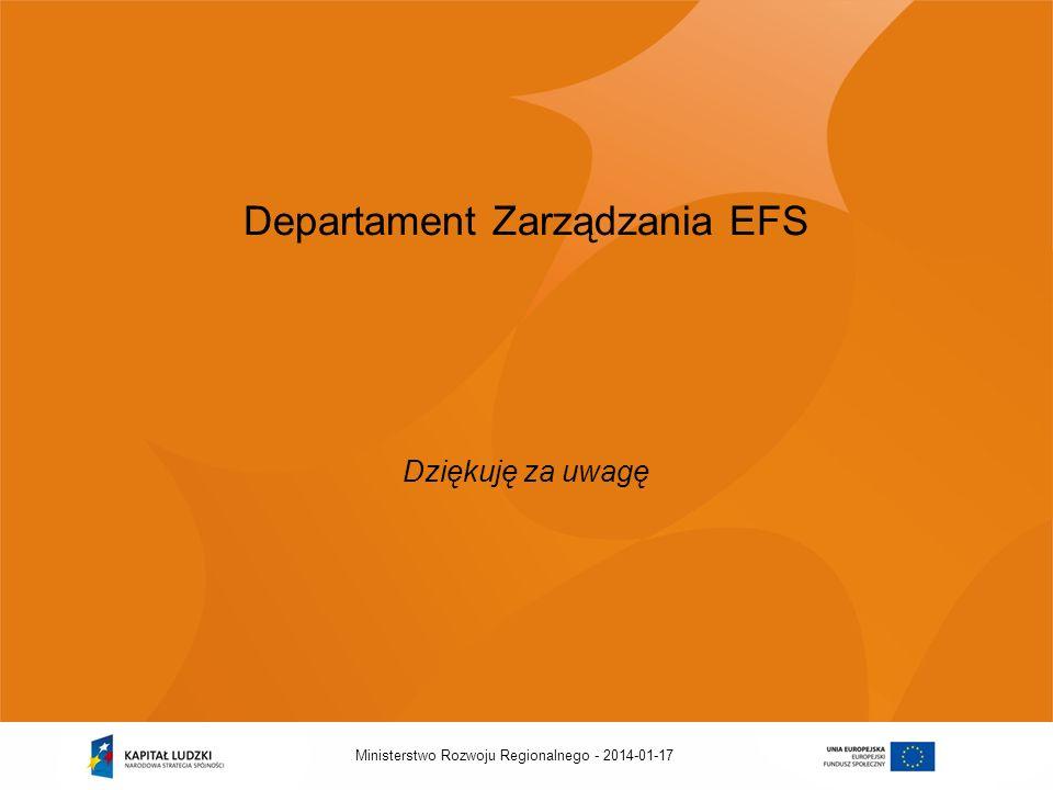 2014-01-17Ministerstwo Rozwoju Regionalnego - Departament Zarządzania EFS Dziękuję za uwagę