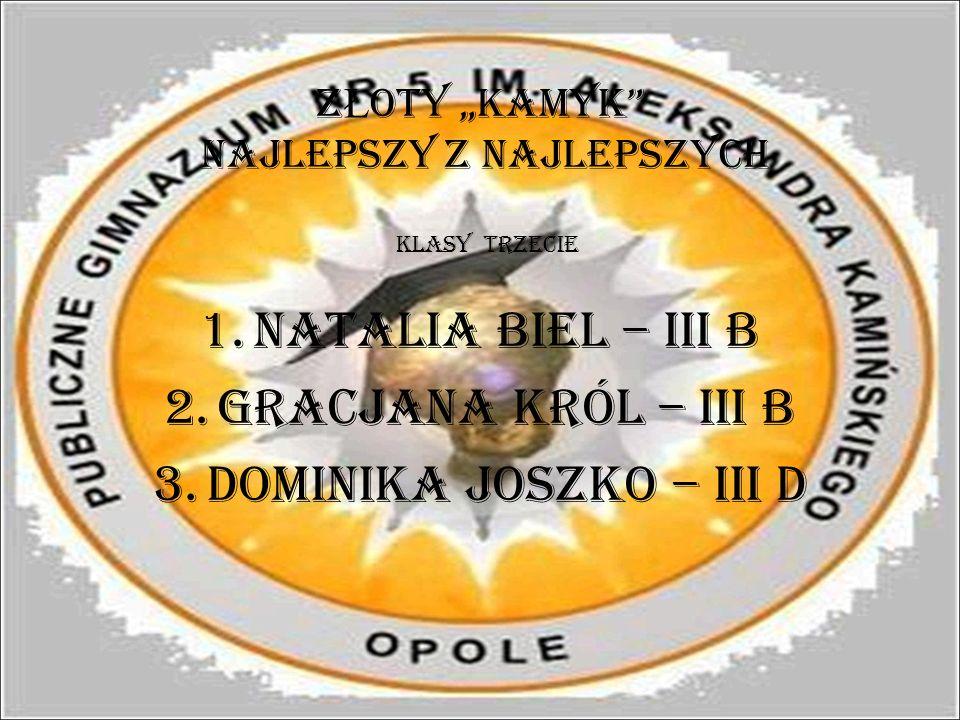 Z Ł OTY KAMYK najlepszy z najlepszych 1.Natalia Biel – III B 2.Gracjana Król – III B 3.Dominika Joszko – III D KLASY TRZECIE
