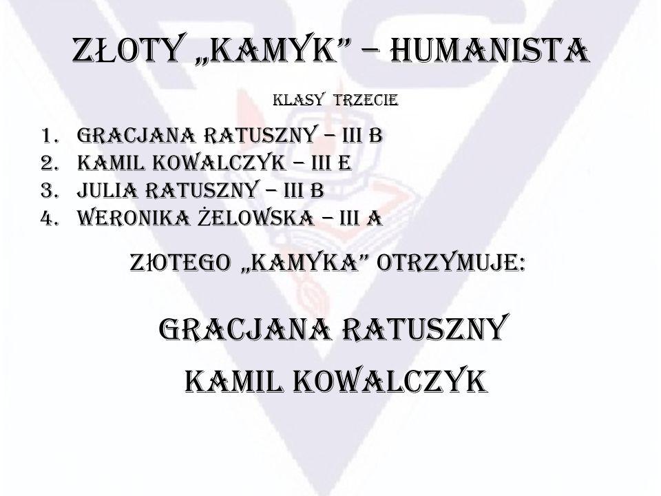 Z Ł OTY KAMYK – HUMANISTA 1.Gracjana Ratuszny – III B 2.Kamil Kowalczyk – III E 3.Julia Ratuszny – III B 4.Weronika Ż elowska – III A KLASY TRZECIE Z