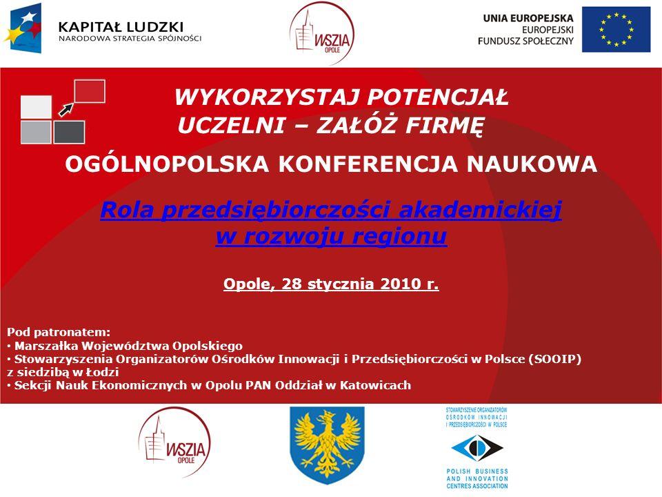 WYKORZYSTAJ POTENCJAŁ UCZELNI – ZAŁÓŻ FIRMĘ OGÓLNOPOLSKA KONFERENCJA NAUKOWA Rola przedsiębiorczości akademickiej w rozwoju regionu Opole, 28 stycznia 2010 r.