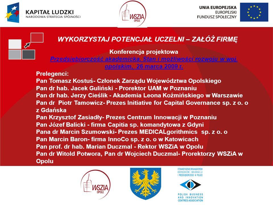 Konferencja projektowa Przedsiębiorczość akademicka.