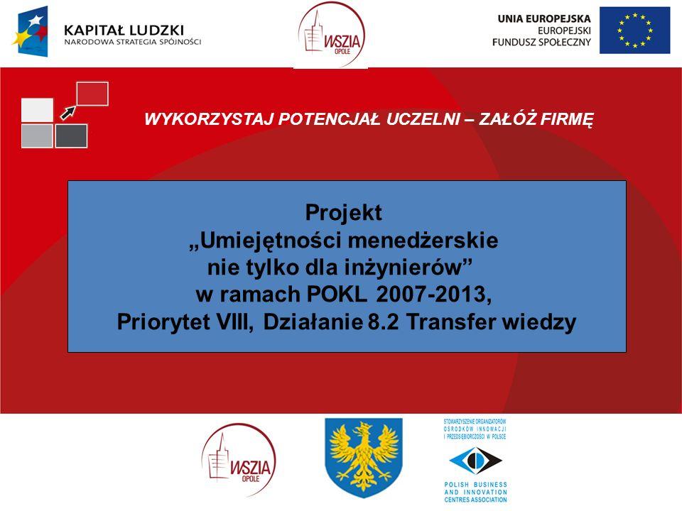 WYKORZYSTAJ POTENCJAŁ UCZELNI – ZAŁÓŻ FIRMĘ Projekt Umiejętności menedżerskie nie tylko dla inżynierów w ramach POKL 2007-2013, Priorytet VIII, Działanie 8.2 Transfer wiedzy