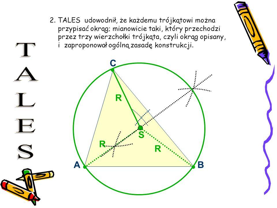 2. TALES udowodnił, że każdemu trójkątowi można przypisać okrąg; mianowicie taki, który przechodzi przez trzy wierzchołki trójkąta, czyli okrąg opisan