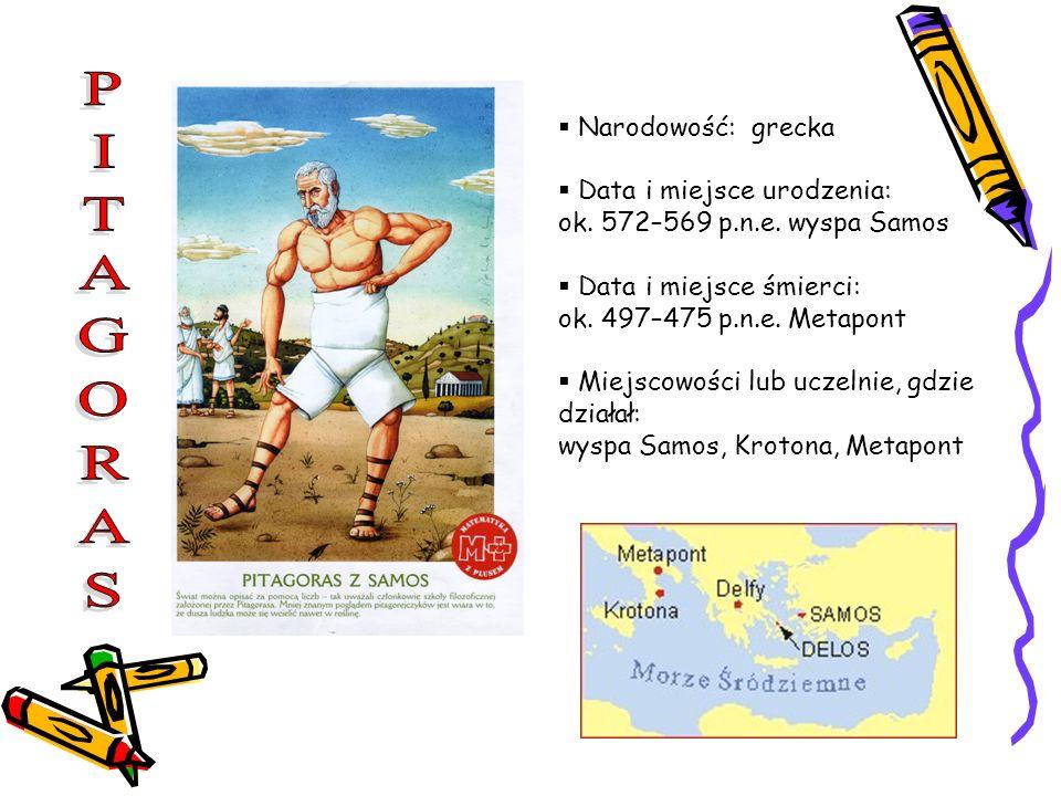 Narodowość: grecka Data i miejsce urodzenia: ok. 572–569 p.n.e. wyspa Samos Data i miejsce śmierci: ok. 497–475 p.n.e. Metapont Miejscowości lub uczel