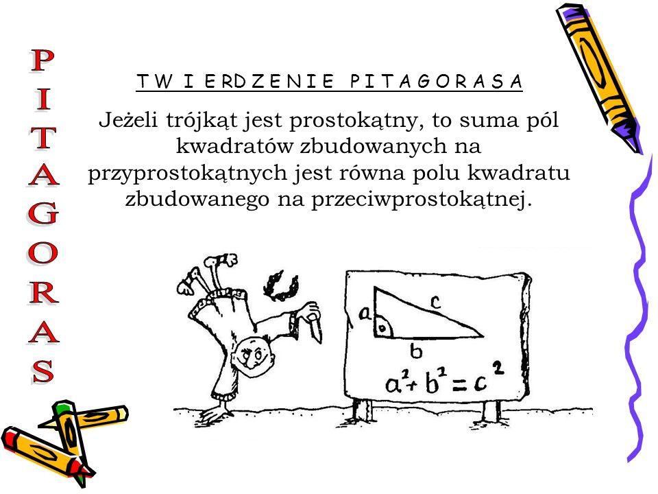T W I E RD Z E N I E P I T A G O R A S A Jeżeli trójkąt jest prostokątny, to suma pól kwadratów zbudowanych na przyprostokątnych jest równa polu kwadr