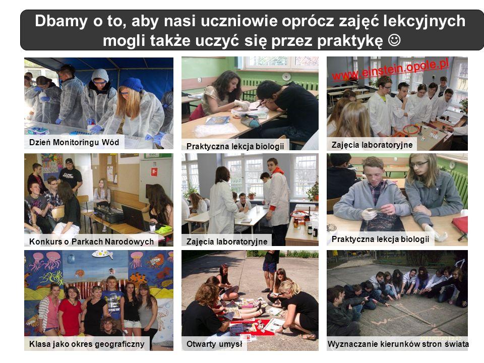 Dbamy o to, aby nasi uczniowie oprócz zajęć lekcyjnych mogli także uczyć się przez praktykę Konkurs o Parkach Narodowych Dzień Monitoringu Wód Zajęcia