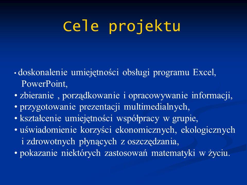 Cele projektu doskonalenie umiejętności obsługi programu Excel, PowerPoint, zbieranie, porządkowanie i opracowywanie informacji, przygotowanie prezent