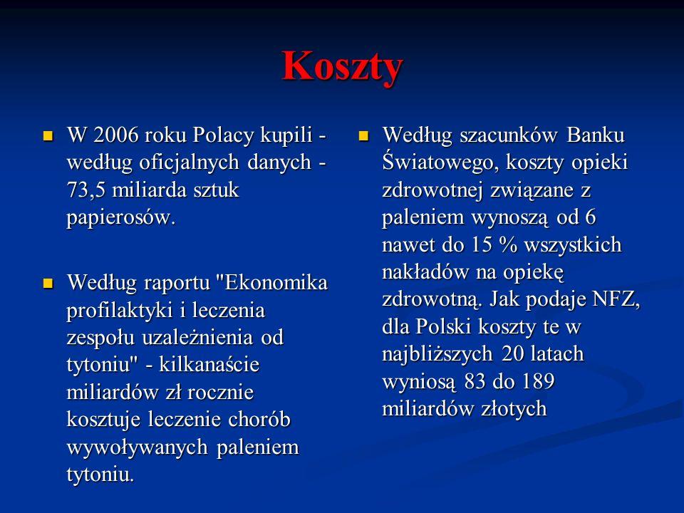 Koszty W 2006 roku Polacy kupili - według oficjalnych danych - 73,5 miliarda sztuk papierosów. W 2006 roku Polacy kupili - według oficjalnych danych -