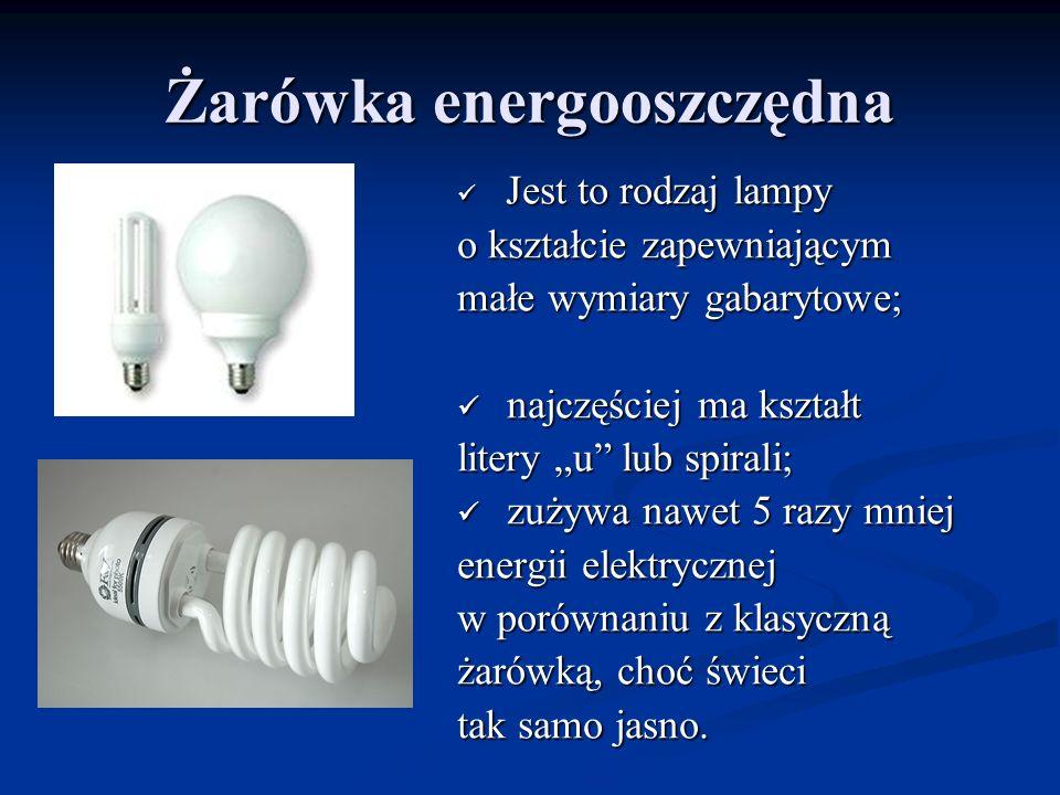 Żarówka energooszczędna Jest to rodzaj lampy Jest to rodzaj lampy o kształcie zapewniającym małe wymiary gabarytowe; najczęściej ma kształt najczęście
