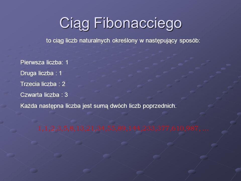 Ciąg Fibonacciego ma zastosowanie w geometrii – pokrycie płaszczyzny kwadratami będącymi n-tym wyrazem ciagu.