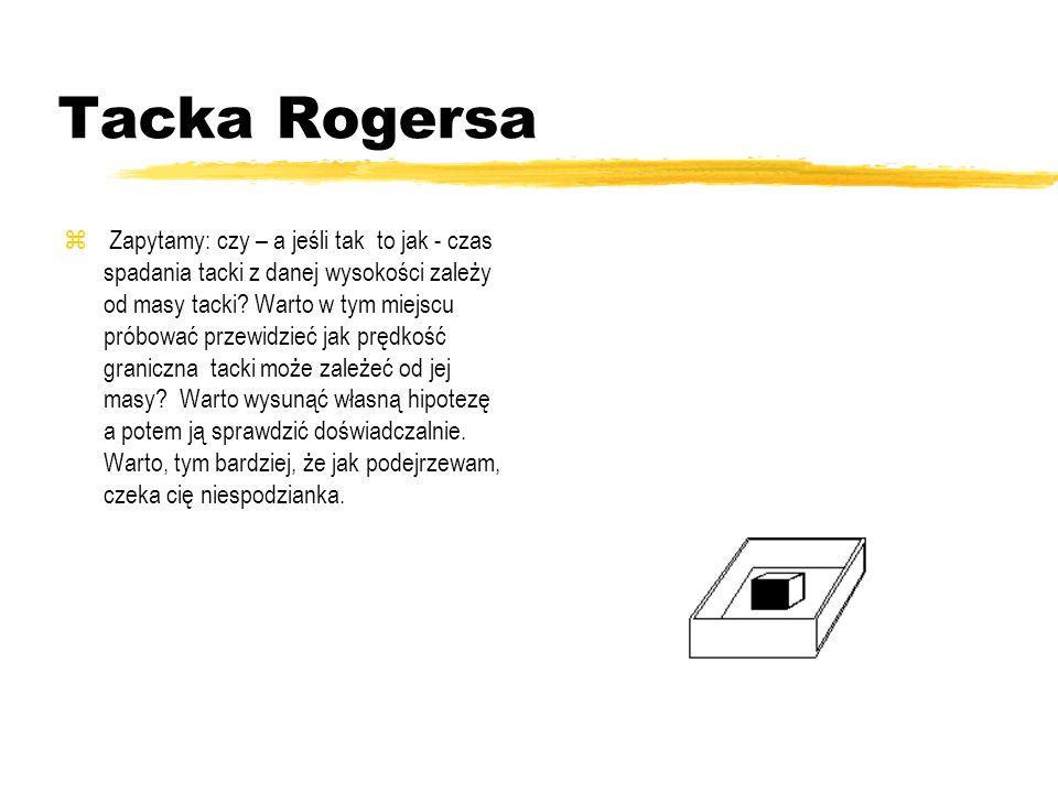 Tacka Rogersa Jeśli taką tackę upuścisz z podniesionej w górę ręki tak by spadała płasko dnem w dół, zauważysz, że spada niemal pionowo i to ruchem je