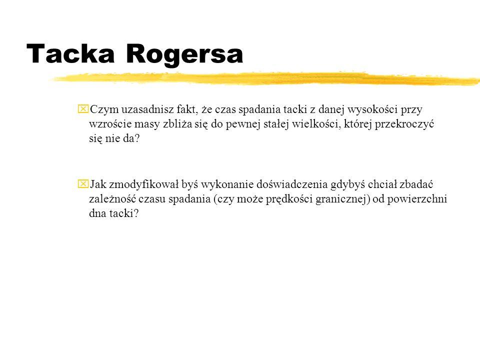 Tacka Rogersa Jeśli masę pustej tacki przyjmiesz za 1, to pomiary czasu możesz na przykład przeprowadzić dla mas 1,25 1,5 1,75 2,00 2,25 itd. Z 8 do 1