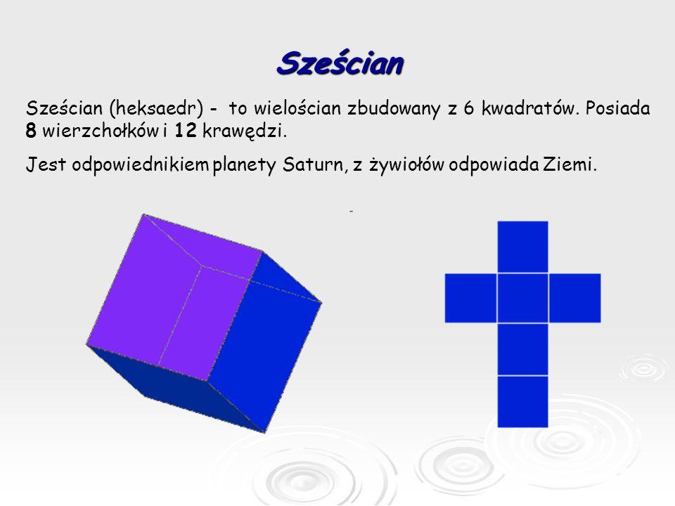 Sześcian Sześcian (heksaedr) - to wielościan zbudowany z 6 kwadratów. Posiada 8 wierzchołków i 12 krawędzi. Jest odpowiednikiem planety Saturn, z żywi