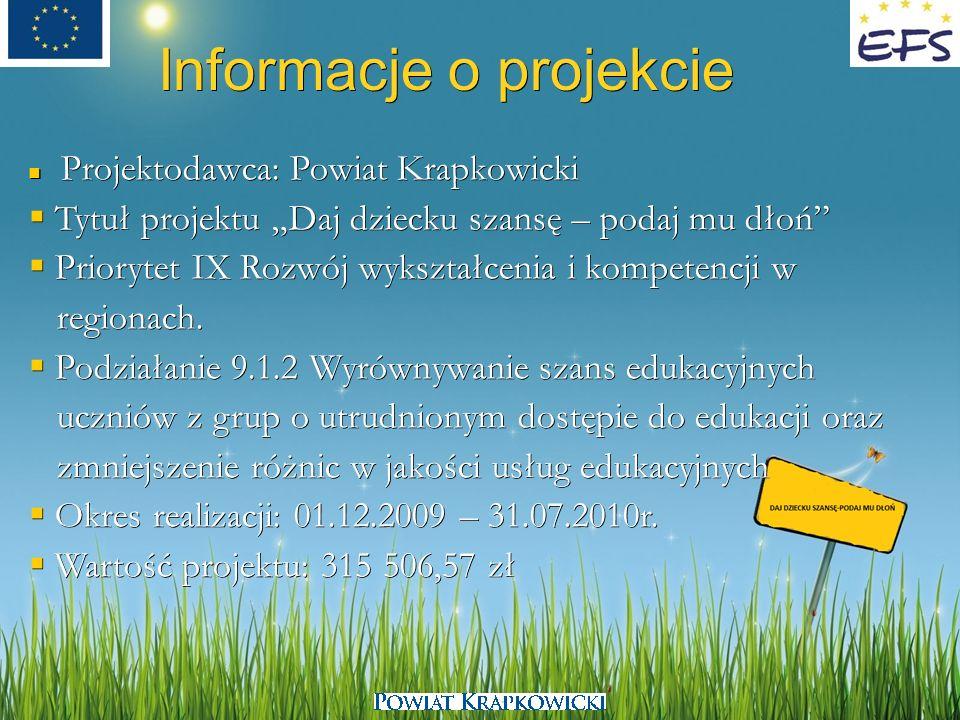 Informacje o projekcie Projektodawca: Powiat Krapkowicki Projektodawca: Powiat Krapkowicki Tytuł projektu Daj dziecku szansę – podaj mu dłoń Tytuł pro