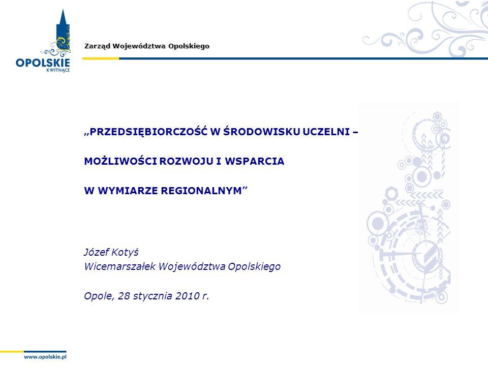 Zarząd Województwa Opolskiego PRZEDSIĘBIORCZOŚĆ W ŚRODOWISKU UCZELNI – MOŻLIWOŚCI ROZWOJU I WSPARCIA W WYMIARZE REGIONALNYM Józef Kotyś Wicemarszałek