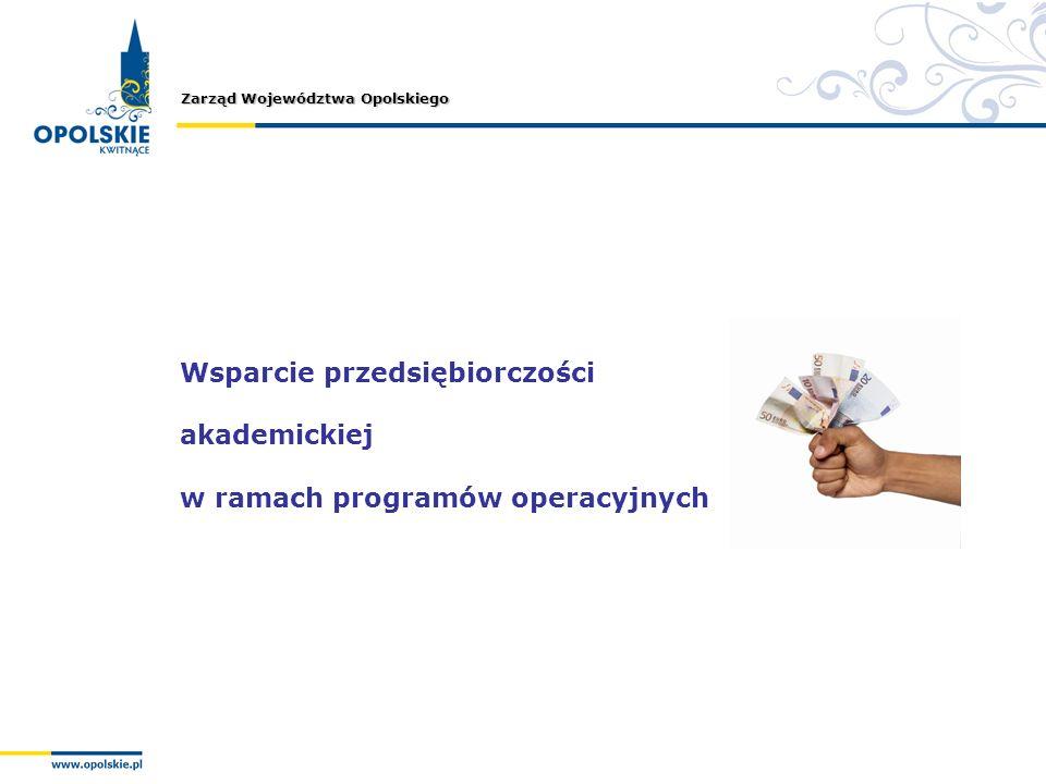 Zarząd Województwa Opolskiego Wsparcie przedsiębiorczości akademickiej w ramach programów operacyjnych