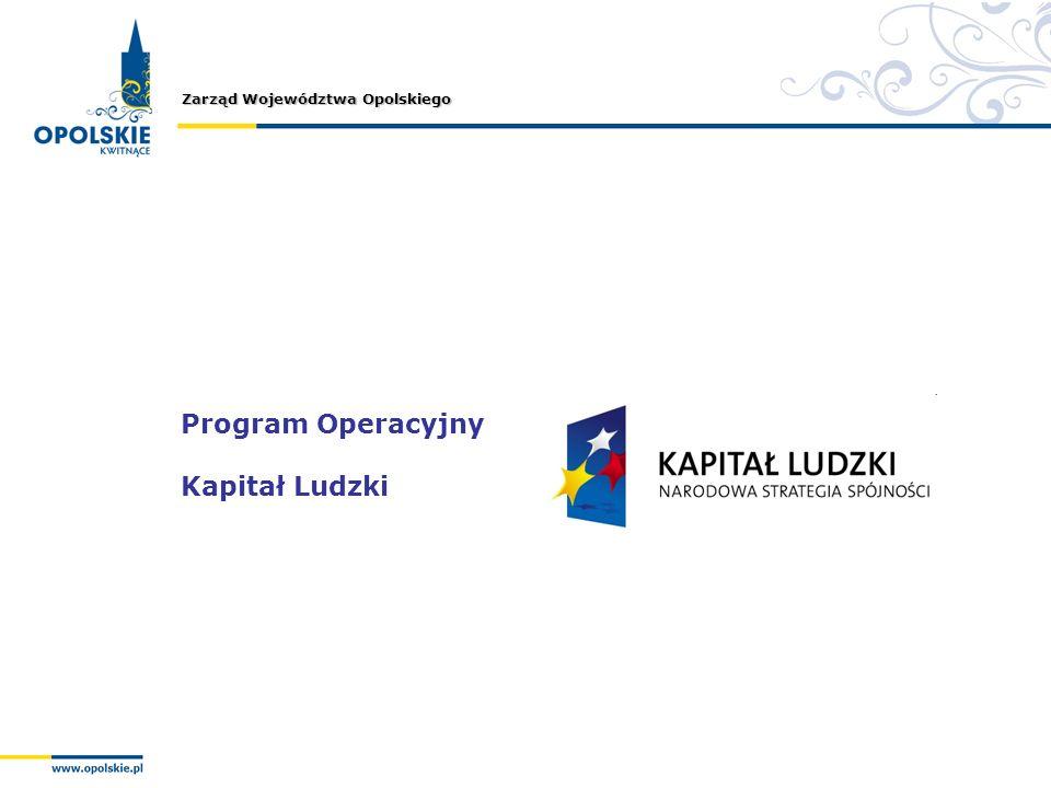 Zarząd Województwa Opolskiego Program Operacyjny Kapitał Ludzki
