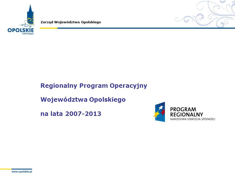 Zarząd Województwa Opolskiego Regionalny Program Operacyjny Województwa Opolskiego na lata 2007-2013