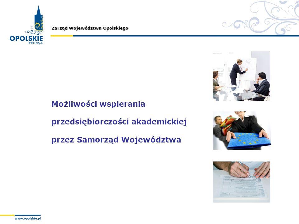 Zarząd Województwa Opolskiego Możliwości wspierania przedsiębiorczości akademickiej przez Samorząd Województwa