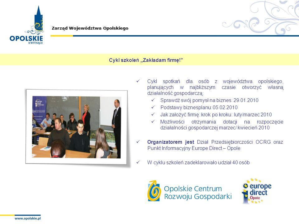 Zarząd Województwa Opolskiego Cykl szkoleń Zakładam firmę! Cykl spotkań dla osób z województwa opolskiego, planujących w najbliższym czasie otworzyć w