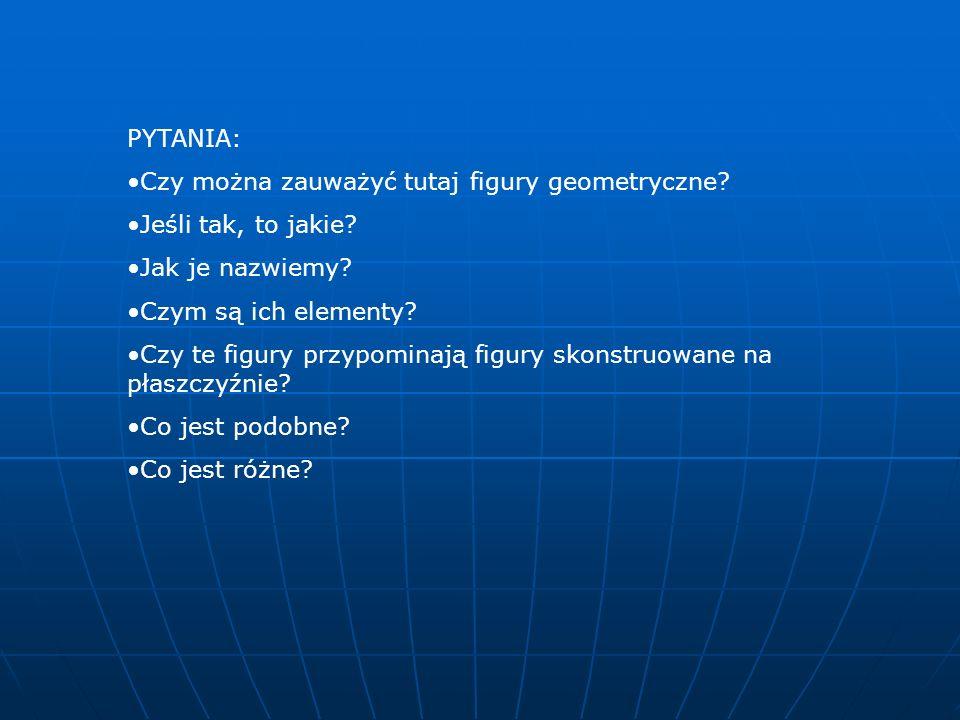 PYTANIA: Czy można zauważyć tutaj figury geometryczne? Jeśli tak, to jakie? Jak je nazwiemy? Czym są ich elementy? Czy te figury przypominają figury s