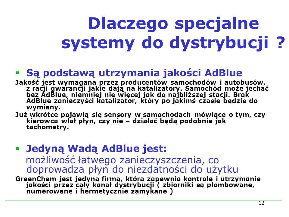12 Dlaczego specjalne systemy do dystrybucji ? Są podstawą utrzymania jakości AdBlue Jakość jest wymagana przez producentów samochodów i autobusów, z
