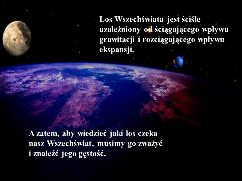–Los Wszechświata jest ściśle uzależniony od ściągającego wpływu grawitacji i rozciągającego wpływu ekspansji. –A zatem, aby wiedzieć jaki los czeka n