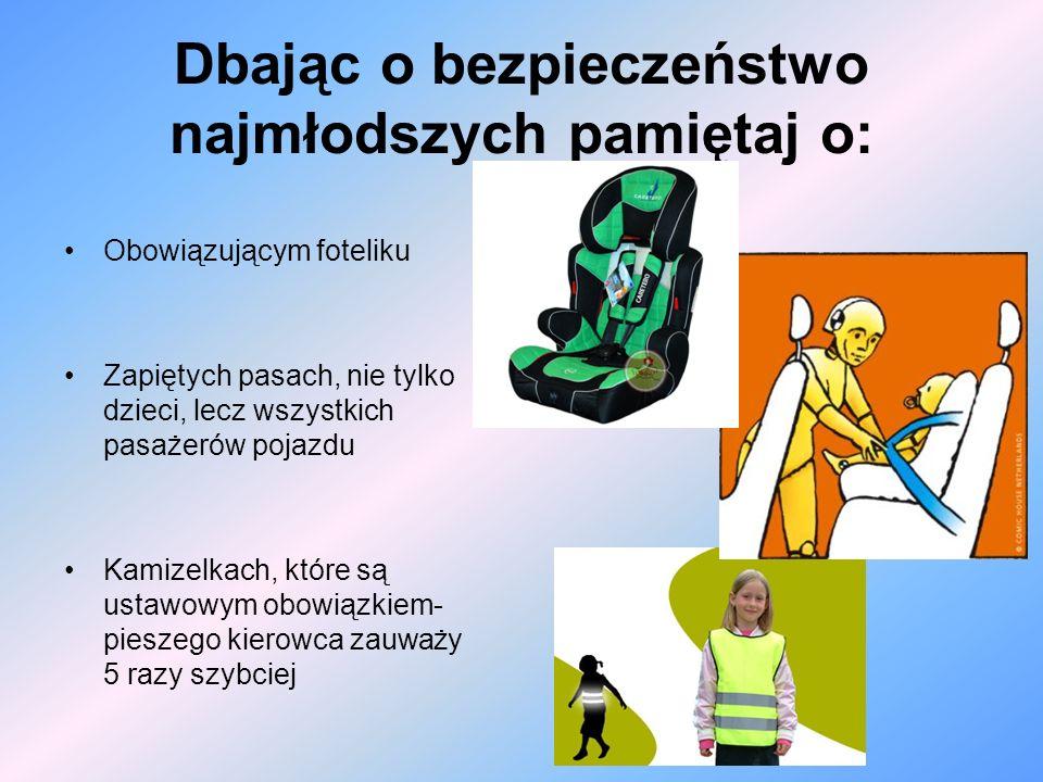 Dbając o bezpieczeństwo najmłodszych pamiętaj o: Obowiązującym foteliku Zapiętych pasach, nie tylko dzieci, lecz wszystkich pasażerów pojazdu Kamizelk