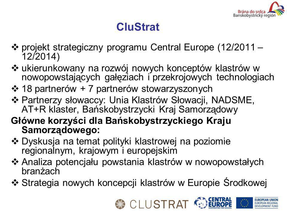 CluStrat projekt strategiczny programu Central Europe (12/2011 – 12/2014) ukierunkowany na rozwój nowych konceptów klastrów w nowopowstających gałęziach i przekrojowych technologiach 18 partnerów + 7 partnerów stowarzyszonych Partnerzy słowaccy: Unia Klastrów Słowacji, NADSME, AT+R klaster, Bańskobystrzycki Kraj Samorządowy Główne korzyści dla Bańskobystrzyckiego Kraju Samorządowego: Dyskusja na temat polityki klastrowej na poziomie regionalnym, krajowym i europejskim Analiza potencjału powstania klastrów w nowopowstałych branżach Strategia nowych koncepcji klastrów w Europie Środkowej