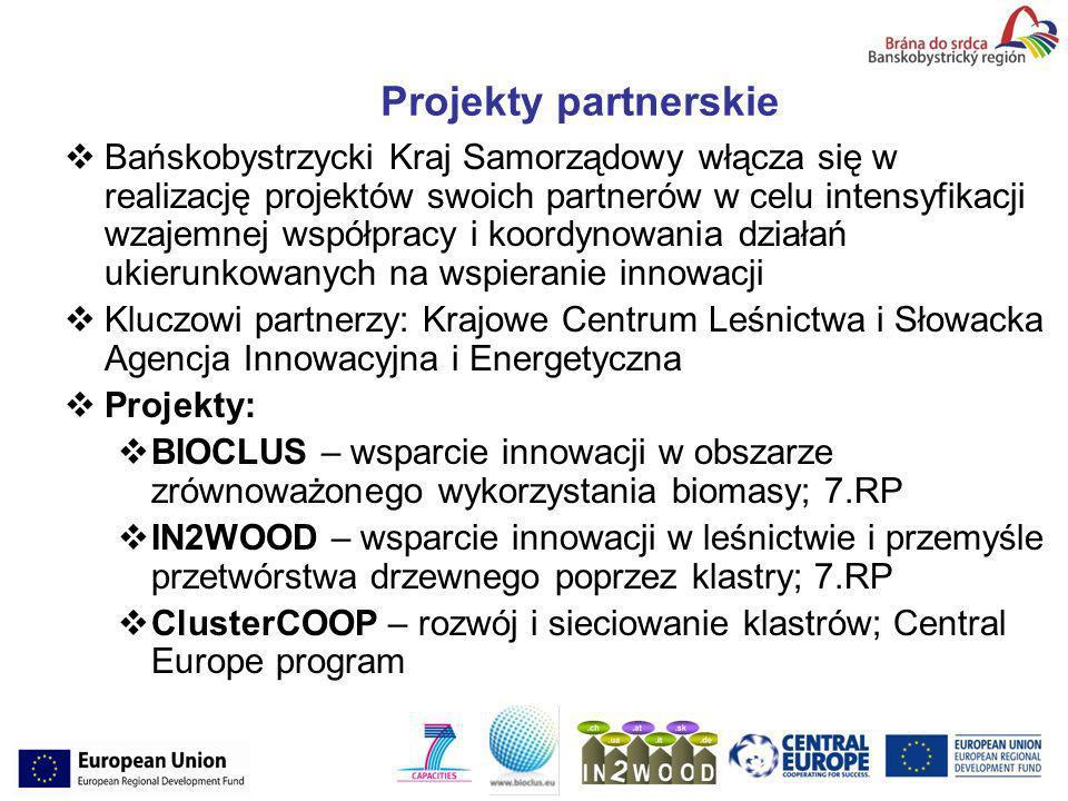 Projekty partnerskie Bańskobystrzycki Kraj Samorządowy włącza się w realizację projektów swoich partnerów w celu intensyfikacji wzajemnej współpracy i koordynowania działań ukierunkowanych na wspieranie innowacji Kluczowi partnerzy: Krajowe Centrum Leśnictwa i Słowacka Agencja Innowacyjna i Energetyczna Projekty: BIOCLUS – wsparcie innowacji w obszarze zrównoważonego wykorzystania biomasy; 7.RP IN2WOOD – wsparcie innowacji w leśnictwie i przemyśle przetwórstwa drzewnego poprzez klastry; 7.RP ClusterCOOP – rozwój i sieciowanie klastrów; Central Europe program