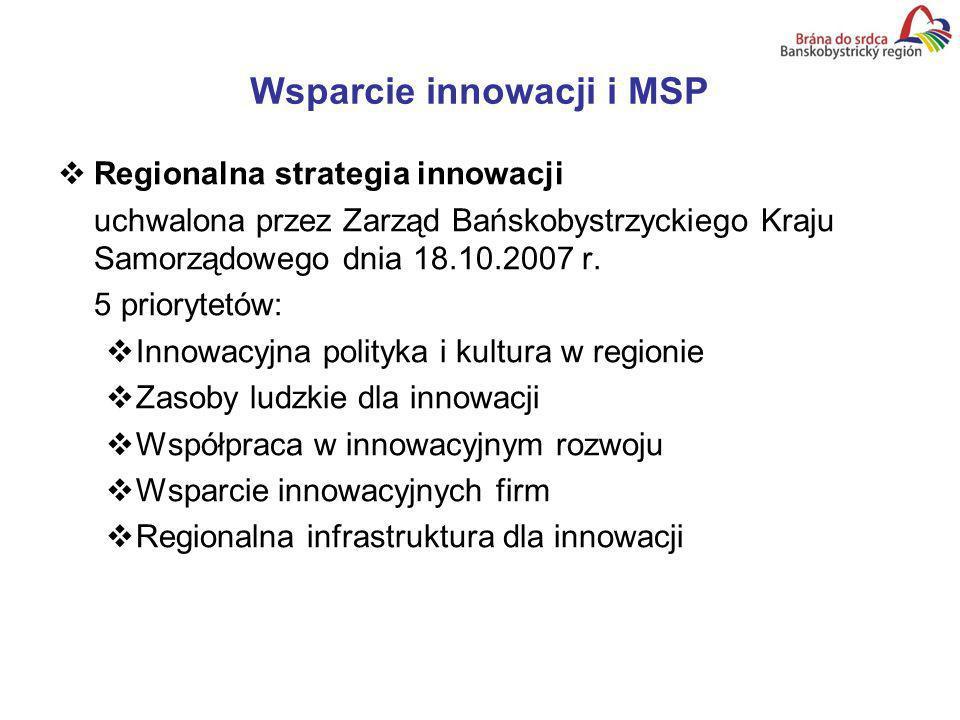 Wsparcie innowacji i MSP Regionalna strategia innowacji uchwalona przez Zarząd Bańskobystrzyckiego Kraju Samorządowego dnia 18.10.2007 r.